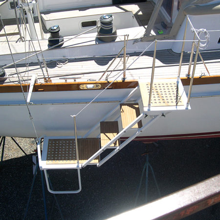 Boarding ladder on boat Dragonera